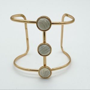 Gold tone and marbled cuff bracelet